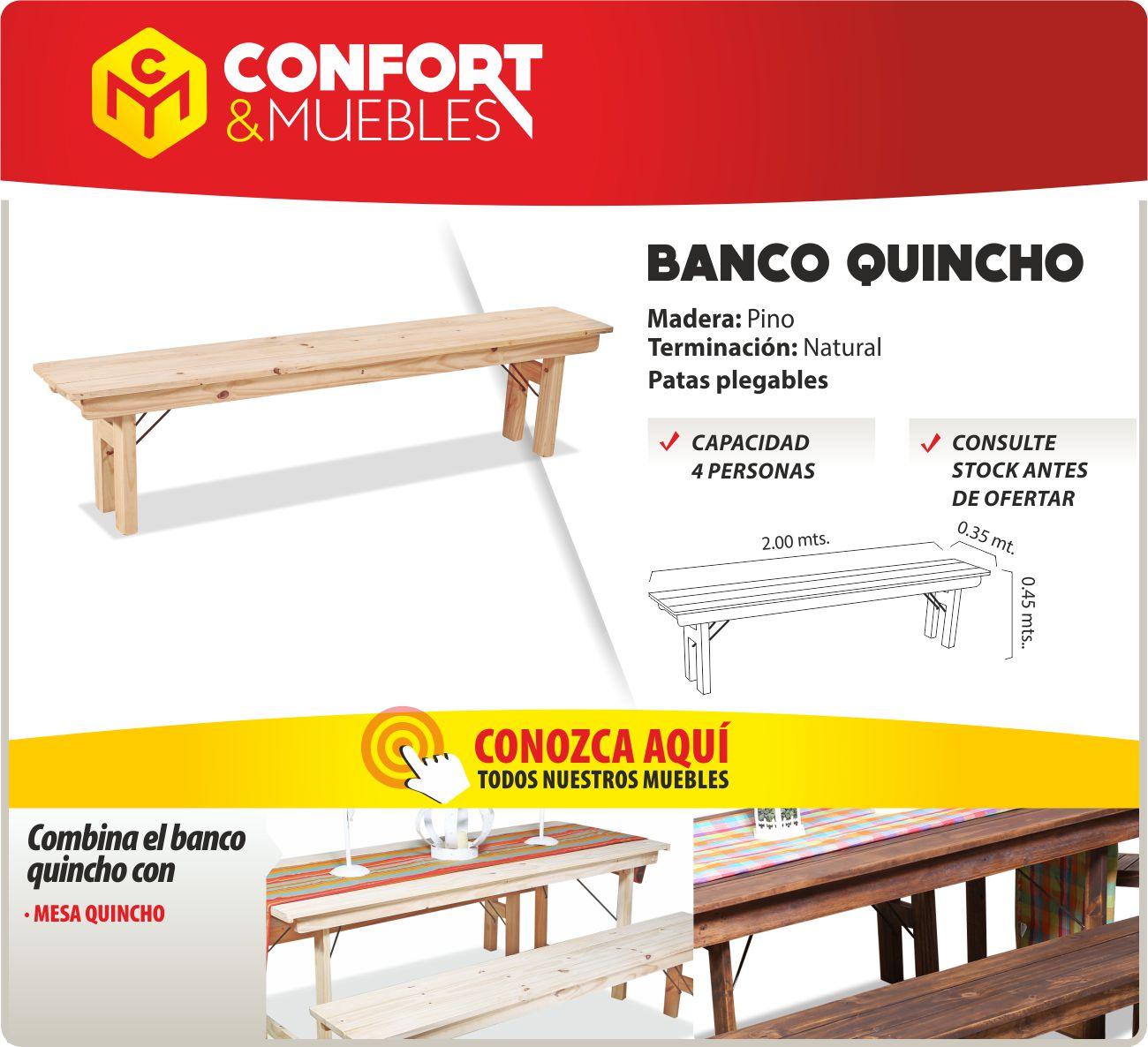 Banco plegable de madera pino quincho jard n - Bancos de madera para interior ...
