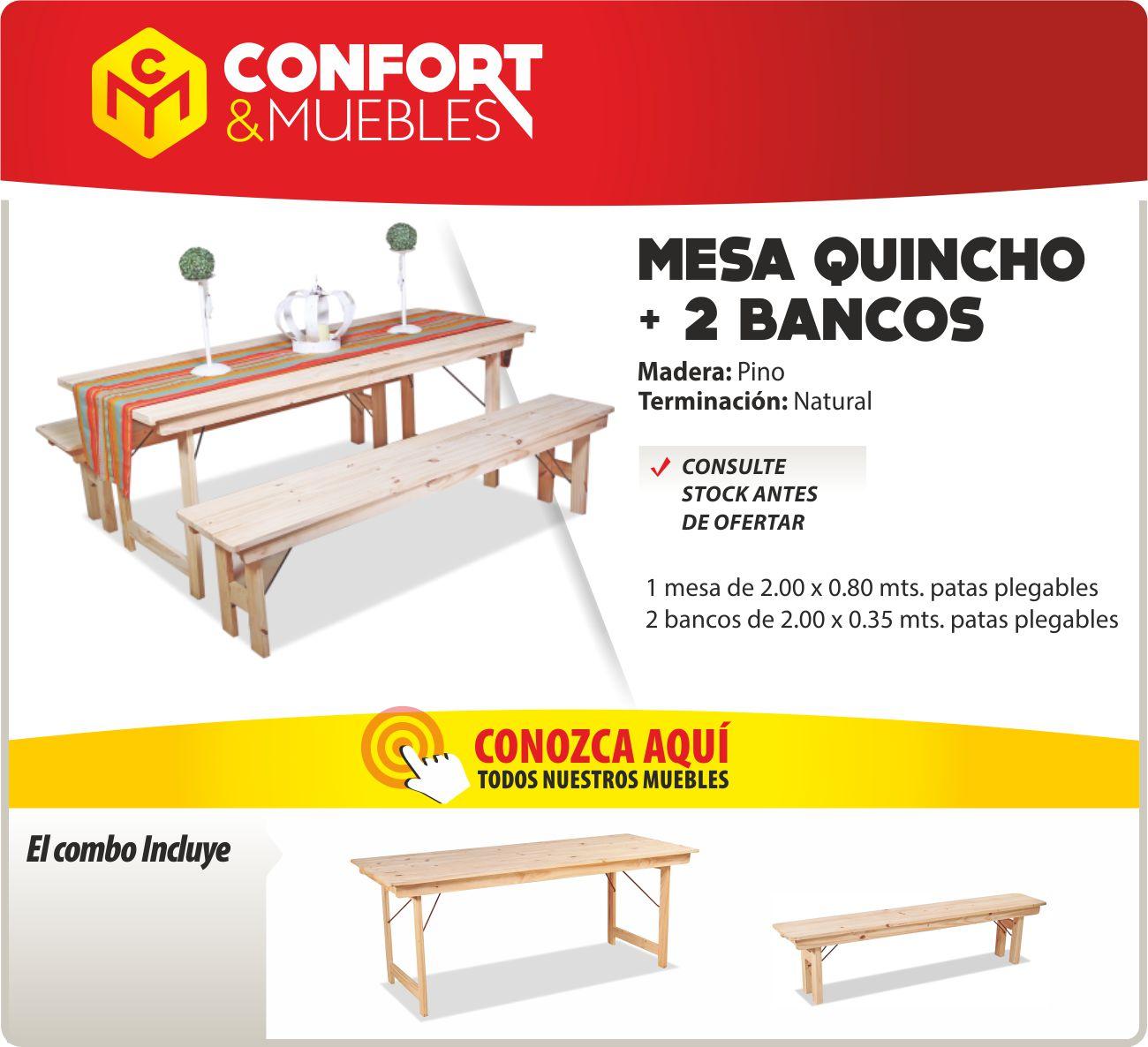 Mesa de madera de pino 2mts plegable quincho 2 bancos confort y muebles - Confort y muebles ...