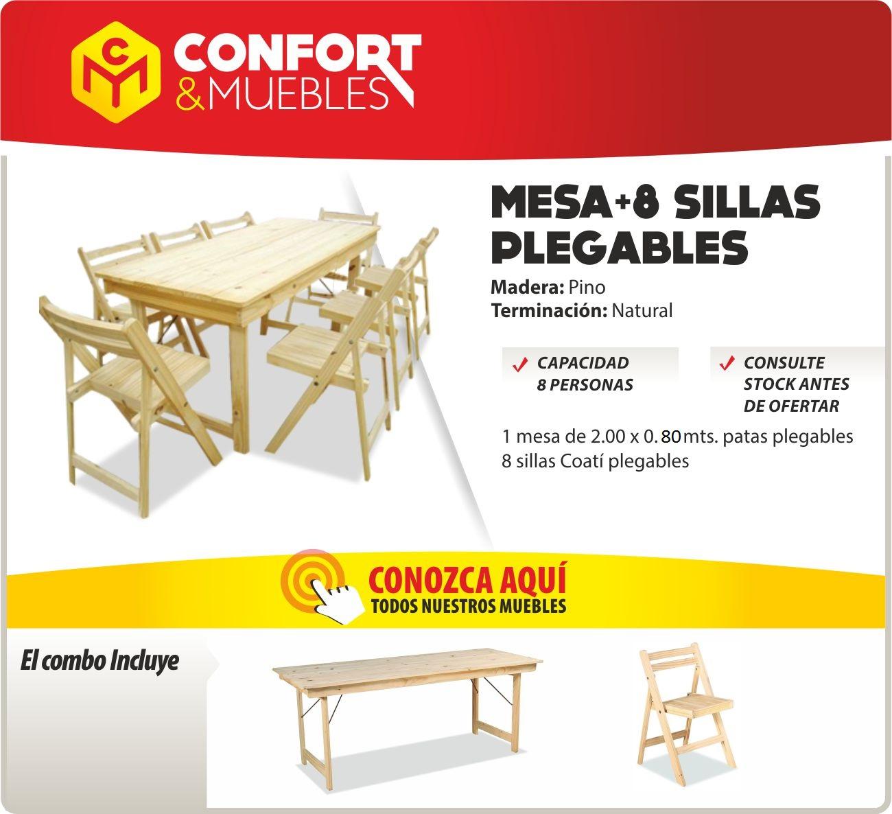 Mesa de madera de pino 2mts plegable quincho 8 sillas for Mesa plegable 8 personas