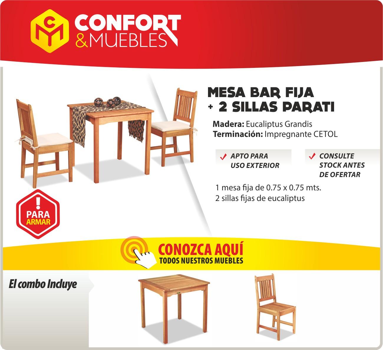 Silla de madera eucaliptus mesa 75x75 interior exterior bar confort y muebles - Confort y muebles ...