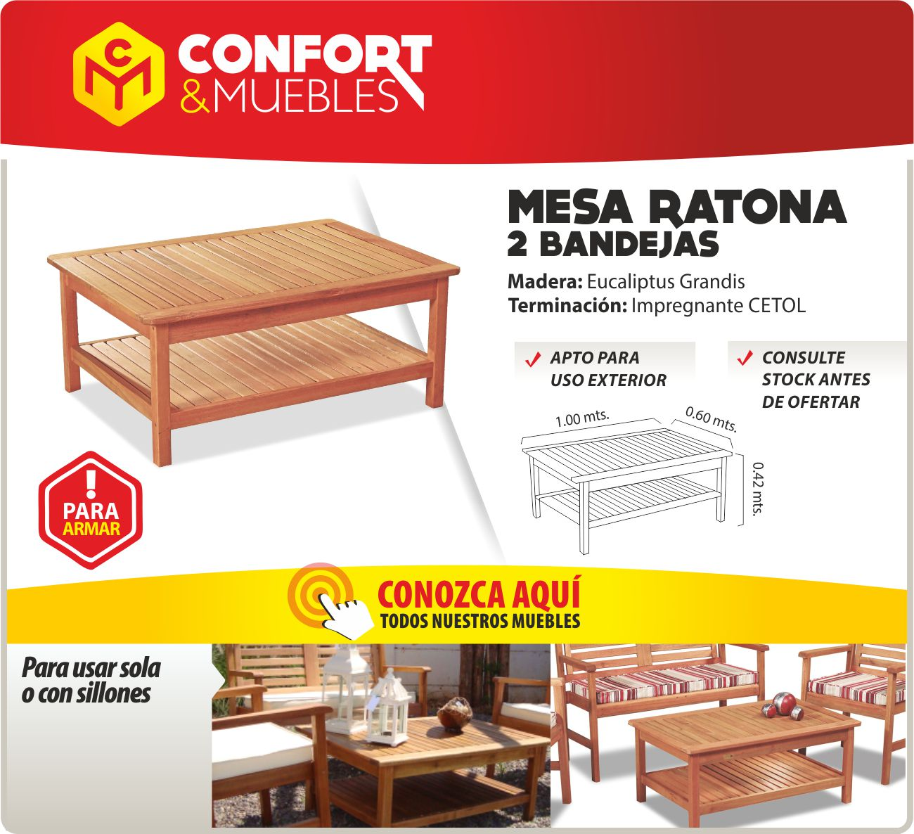 Mesa ratona baja de madera eucalip jard n interior exterior confort y muebles - Confort y muebles ...