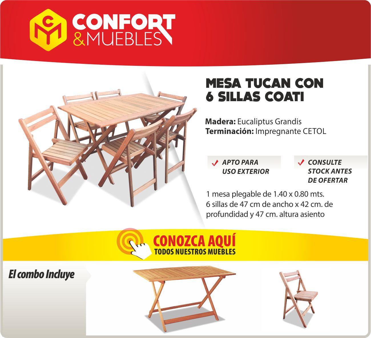 Mesa de madera eucaliptus 6 silla plegable exterior for Mesa de camping plegable con sillas