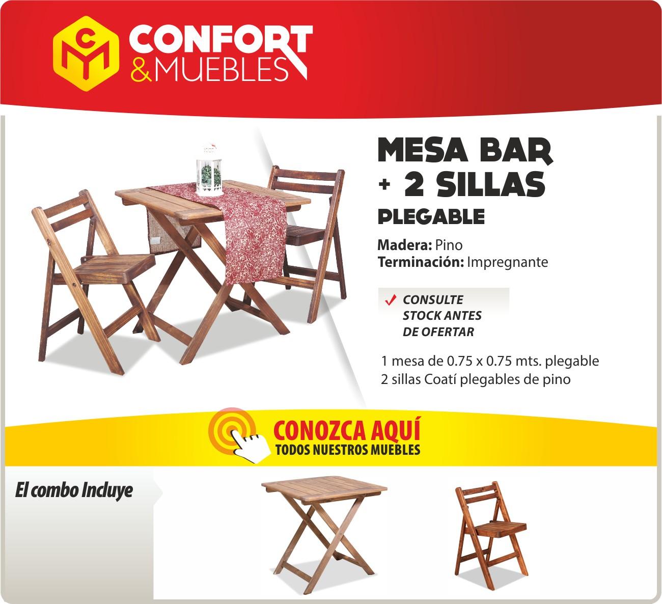 Mesa de madera de pino 75x75 2 sillas plegables confort y muebles - Confort y muebles ...