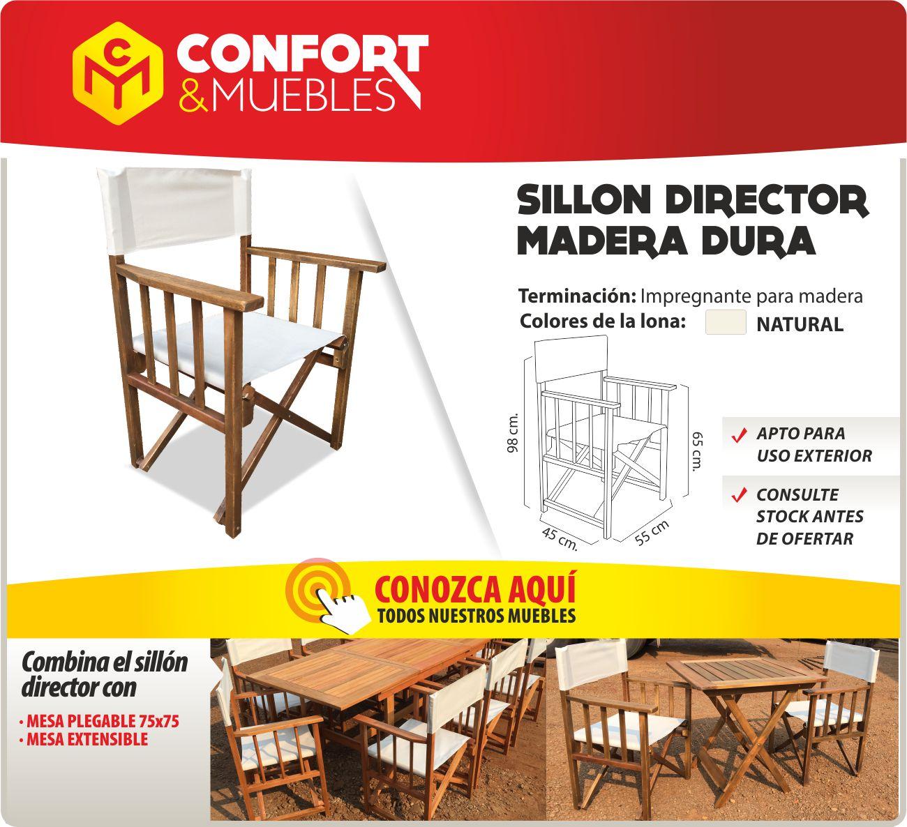 Sill n director de madera lapacho r stico artesanal exterior confort y muebles - Confort y muebles ...